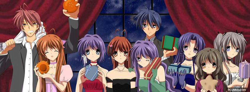 Photo manga clannad friends Facebook Cover for Free