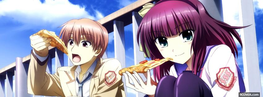 Photo manga eating pizza Facebook Cover for Free