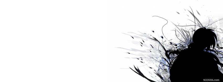 Photo black and white anime manga Facebook Cover for Free