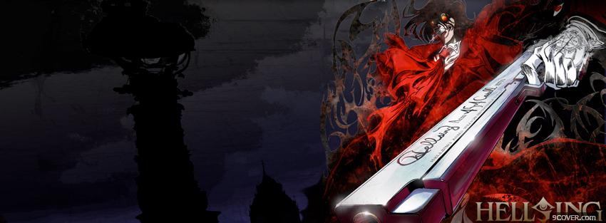 Photo hellsing holding gun Facebook Cover for Free