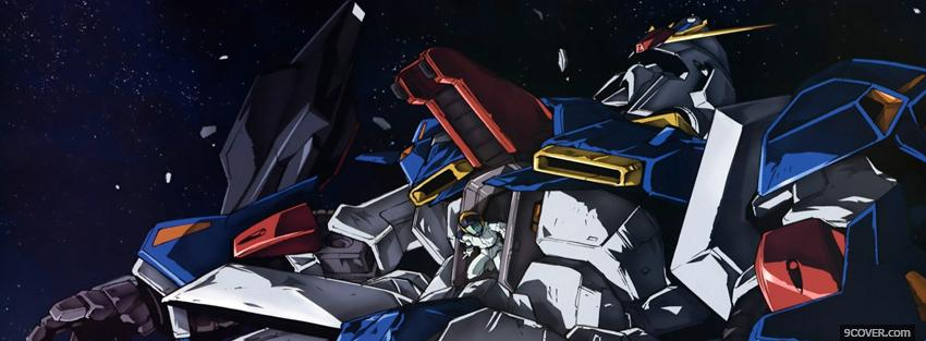 Photo gundam robot in the night Facebook Cover for Free