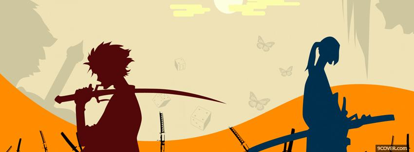 Photo manga holding swords Facebook Cover for Free