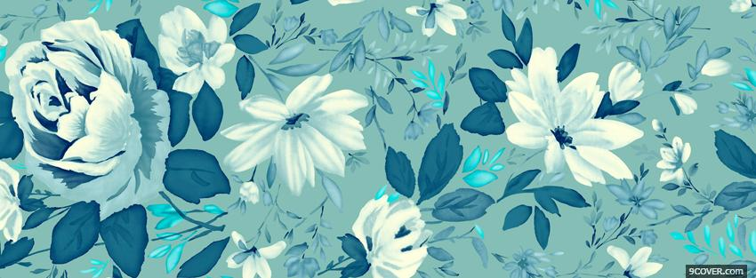Photo blue and white flowers Facebook Cover for Free