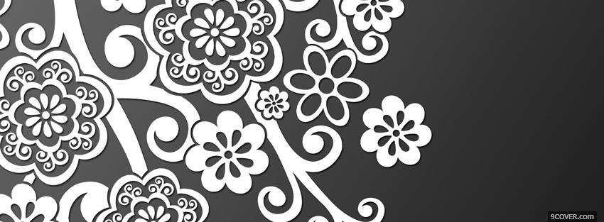 Photo grey and white flowers Facebook Cover for Free