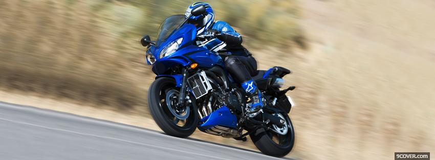 Photo riding blue yamaha Facebook Cover for Free