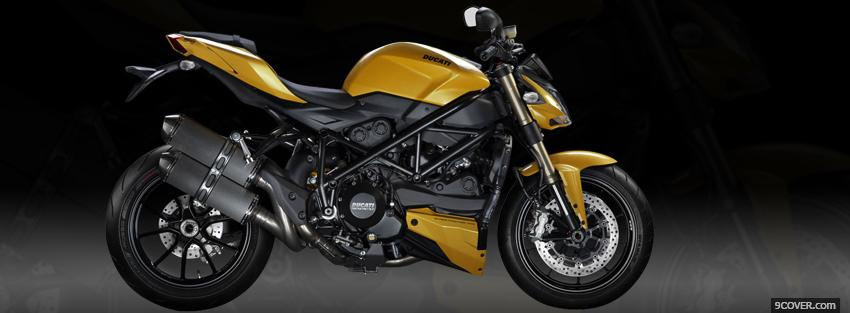 Photo yellow ducati streetfighter moto Facebook Cover for Free