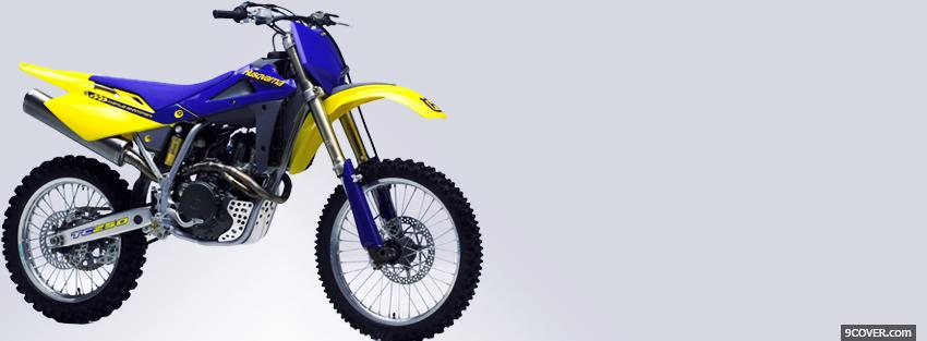 Photo blue yellow husqvarna moto Facebook Cover for Free