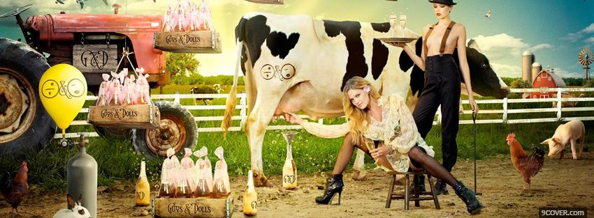 Photo fashion shoot hot women on a farm Facebook Cover for Free