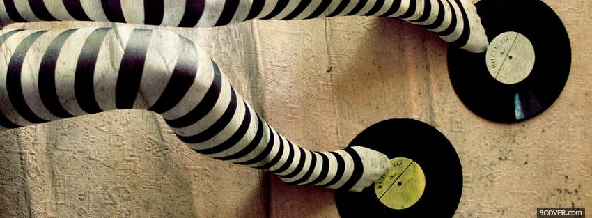Photo fashion striped black and white stockings Facebook Cover for Free