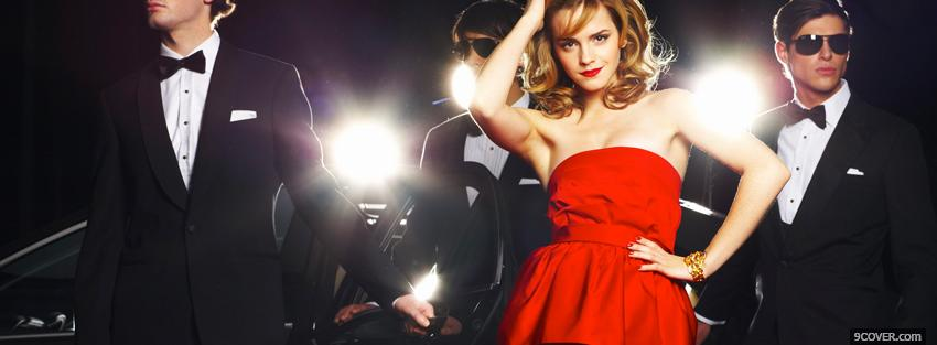 Photo fashion red elegant dress Facebook Cover for Free