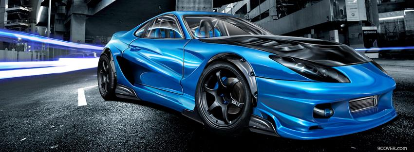 Photo blue sports car Facebook Cover for Free