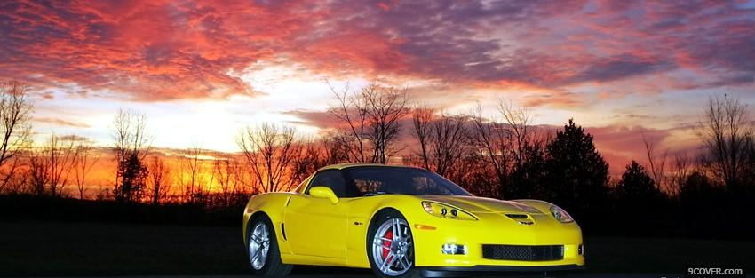 Photo chevrolet corvette in the woods Facebook Cover for Free