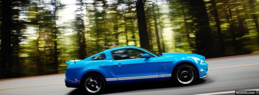 Photo ford mustang shelby blue Facebook Cover for Free