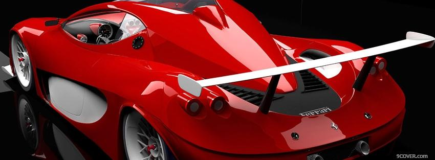 Photo back of red ferrari car Facebook Cover for Free