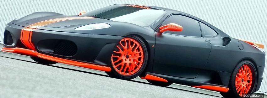 black and orange ferrari car Photo Facebook Cover