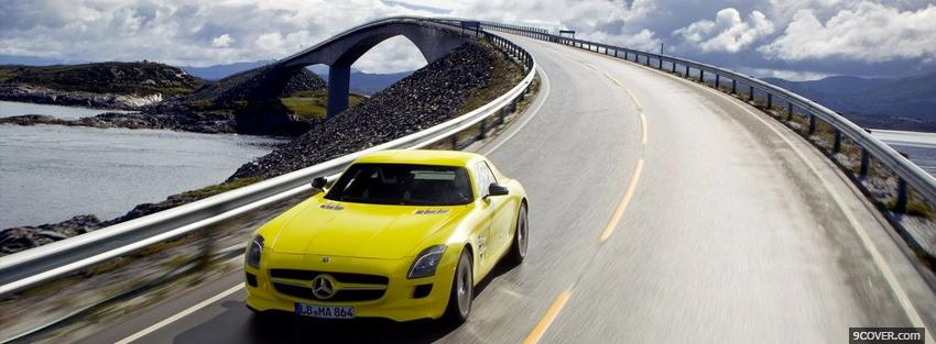 Photo yellow mercedes car Facebook Cover for Free