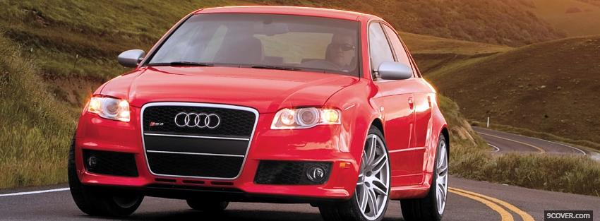 Photo outside red audi car Facebook Cover for Free