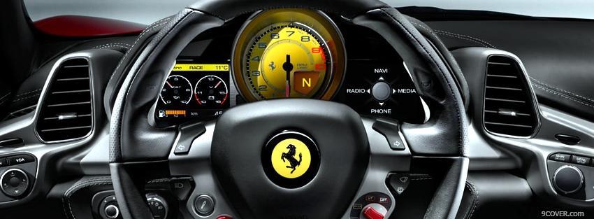 Interior Of Ferrari Car Photo Facebook Cover