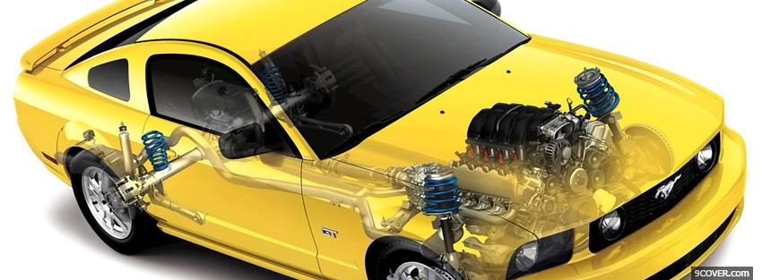 Photo yellow mustang car parts Facebook Cover for Free