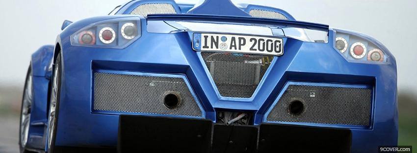 Photo blue gumpert apollo car Facebook Cover for Free