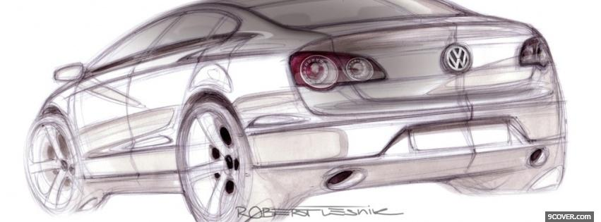 Photo drawed volkswagen car Facebook Cover for Free
