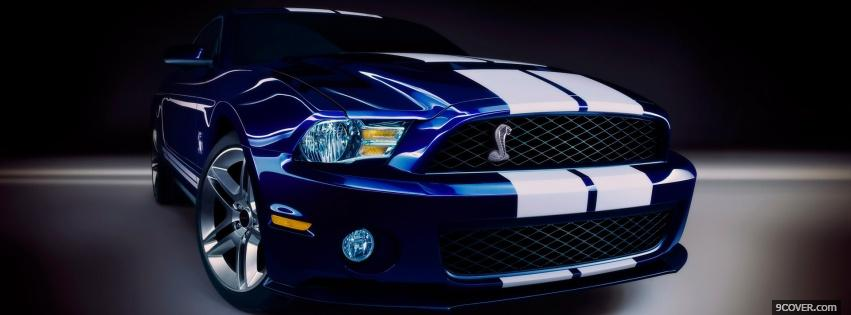 Photo white line ford mustang Facebook Cover for Free