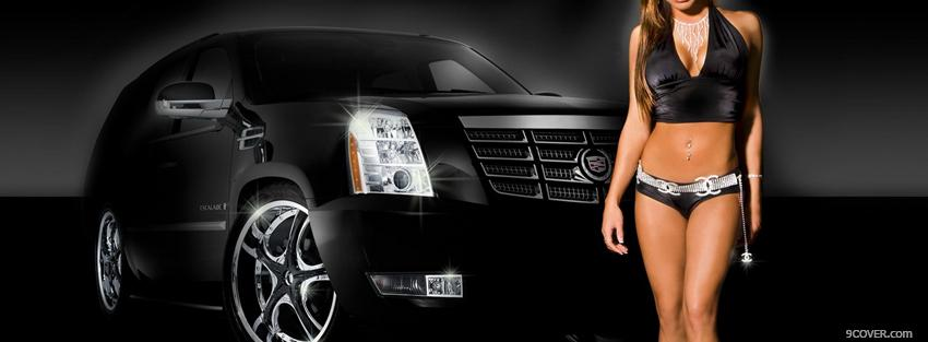 Photo black car and hot woman Facebook Cover for Free