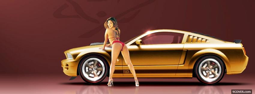 Photo nice model and gold car Facebook Cover for Free