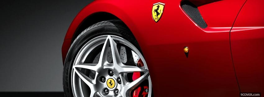 Photo red ferrari car wheel Facebook Cover for Free