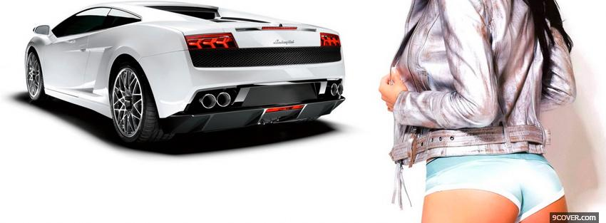 Photo lamborghini and hot girl Facebook Cover for Free