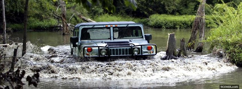 Photo hummer h1 in the water Facebook Cover for Free