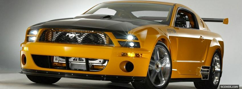 Photo ford mustang gtr yellow Facebook Cover for Free