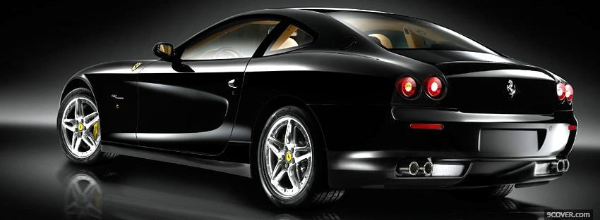 Photo luxurious black ferrari Facebook Cover for Free