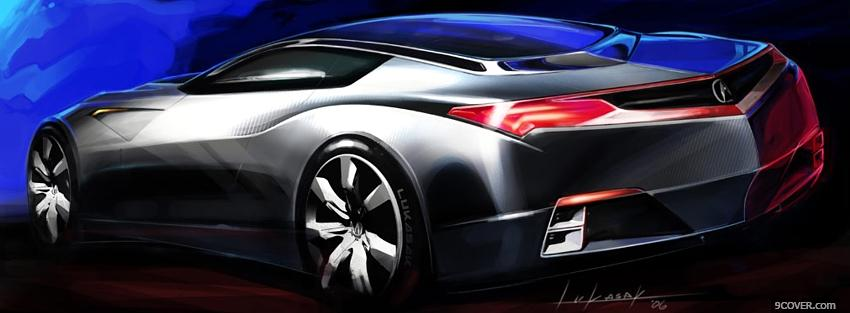 Photo silver sports car Facebook Cover for Free