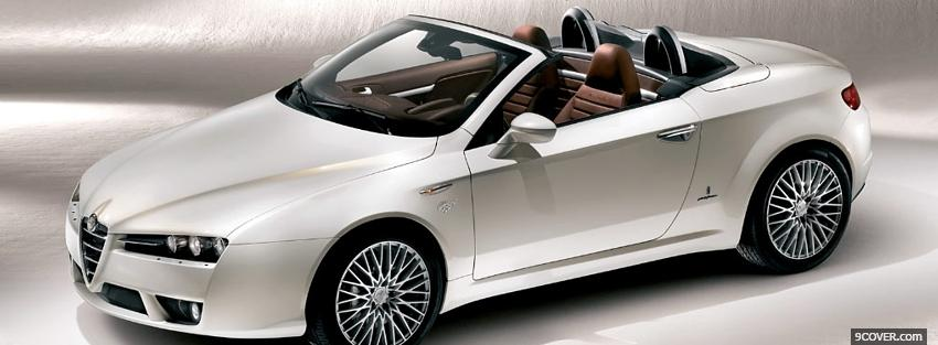 Photo alfa romeo white car Facebook Cover for Free