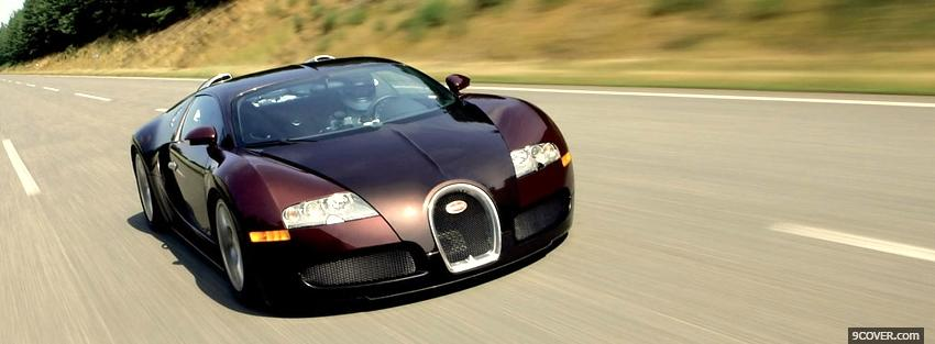 Photo bugatti veyron on the street Facebook Cover for Free