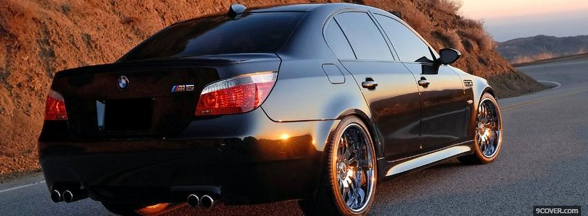 Photo bmw m5 black car Facebook Cover for Free