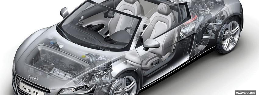 Photo inside audi r8 car Facebook Cover for Free