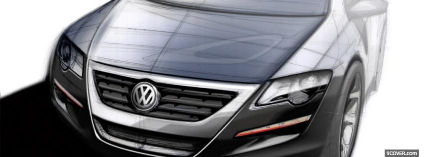 Photo drawed front of black volkswagen Facebook Cover for Free