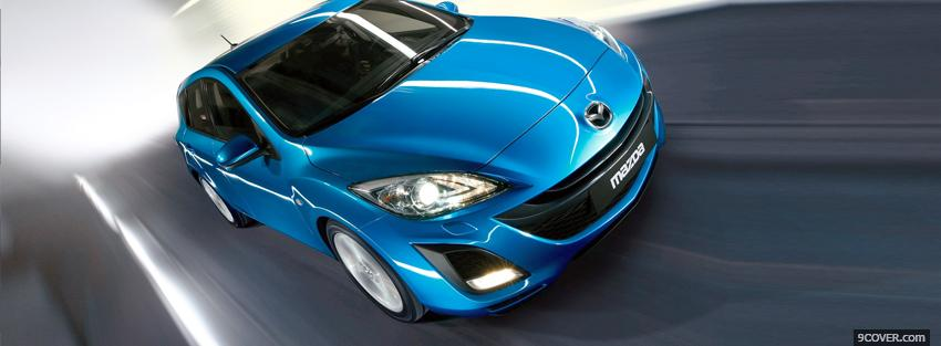 Photo blue mazda 3 car Facebook Cover for Free
