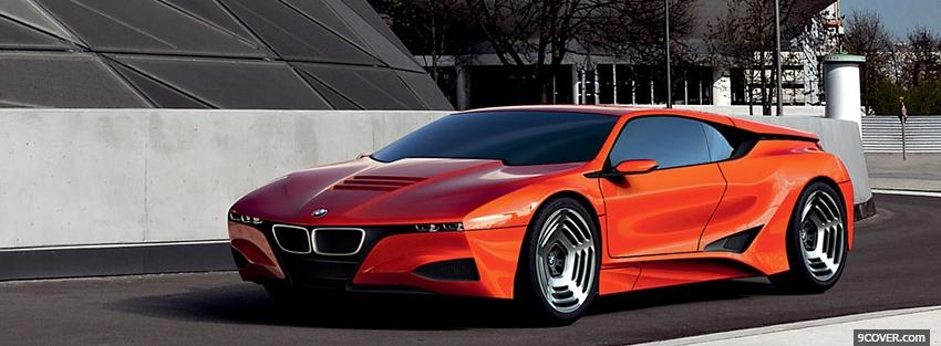 Photo orange bmw m1 car Facebook Cover for Free