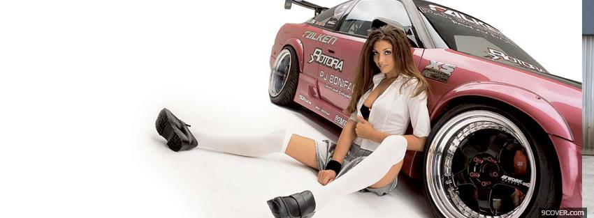 Photo pretty girl whit racing car Facebook Cover for Free