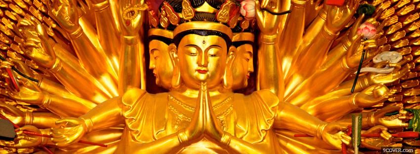 Photo religions gold statue of buddha Facebook Cover for Free
