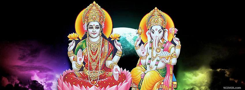 Photo religions laxmi ganesh Facebook Cover for Free