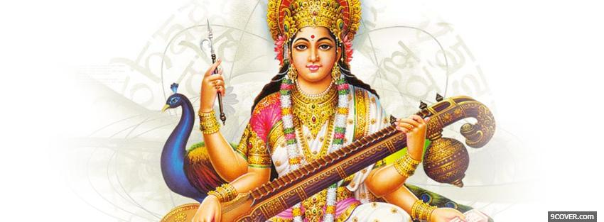 Photo religions saraswati maa Facebook Cover for Free