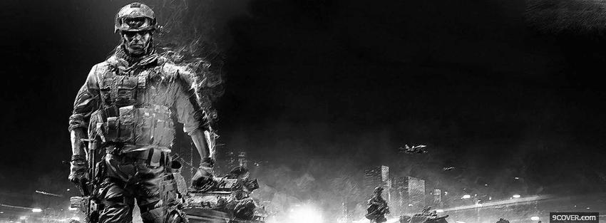 Photo black and white battlefield video games Facebook Cover for Free