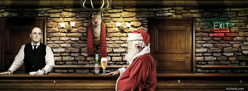 Photo santa claus drinking alcohol Facebook Cover for Free