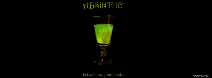 Photo green absinthe drink alcohol Facebook Cover for Free