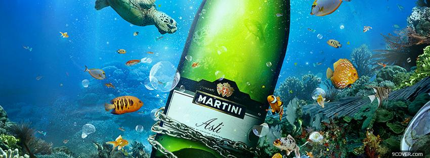 Photo martini asti in the ocean Facebook Cover for Free