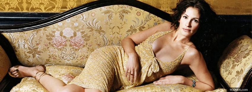 Photo julia roberts wearing gold dress Facebook Cover for Free